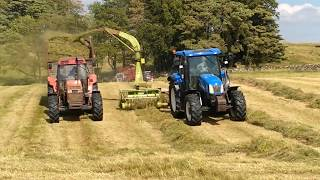 Fell Silage - Silaging with 2 Claas Trailed Foragers with Case & NH - Silage 2018