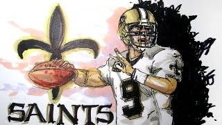 NFL Football Series:  New Orleans Saints Time Lapse Drawing