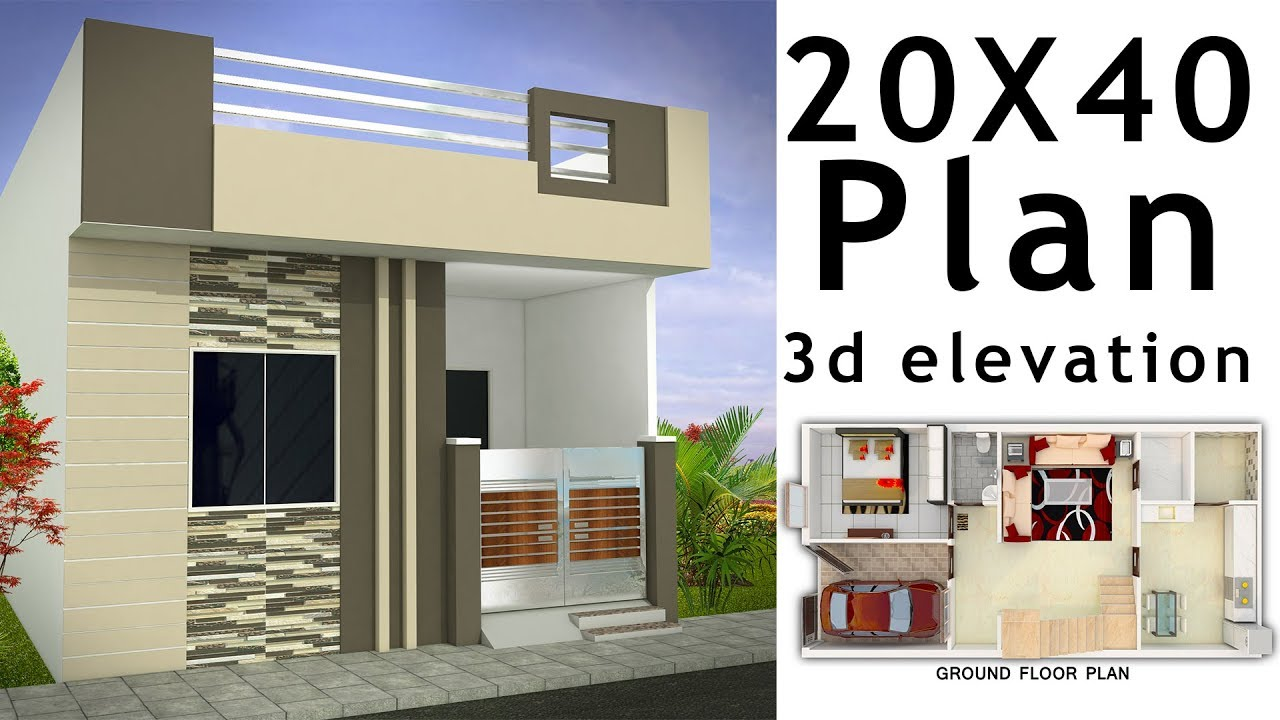20x40 House Plan With 3d Elevation By Nikshail