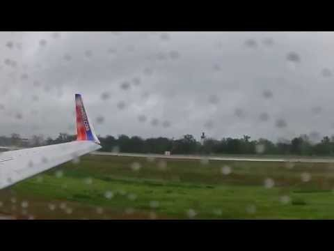 Rainy Day Takeoff from Little Rock AR on Southwest Airlines