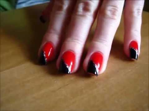 czarno czerwone paznokcie