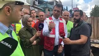 Başkan Ekrem İmamoğlu, yağmurdan etkilenen yerlerden biri olan Üsküdar meydanında inceleme yapıyor.