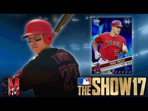 99 OVERALL DIAMOND MIKE TROUT DEBUT! MLB THE SHOW 17 GAMEPLAY