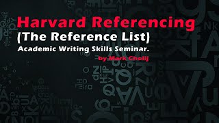 Harvard Referencing (The Refeŗence List)