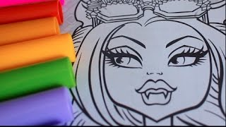 COLORING WITH CRAYOLA MARKERS HOWLEEN WOLF AND CATTY NOIR MONSTER HIGH