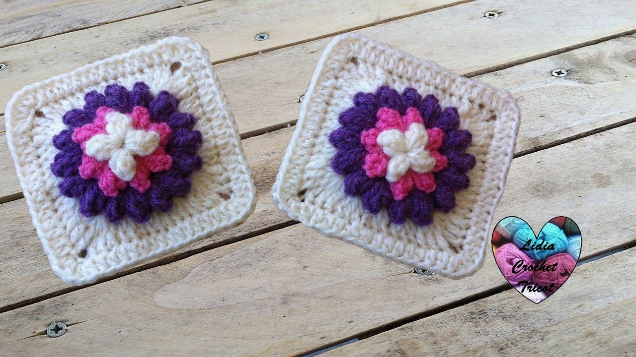 granny fleur popcorn au crochet granny flor en relieve crochet