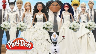 Play Doh Wedding  Dress Elsa Jack Frost Anna Kristoff Moana Maui Ladybug Cat Noir Spiderman