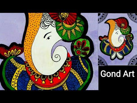 Indian Folk Art || Gond Painting || Ganpati Gond Art  on handmade Canvas for beginners || Wall Decor