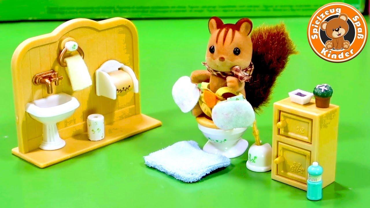 Sylvanian Families Toilette Wc Einrichtung Badezimmer Mobel Haus Kinder Spielzeug Video