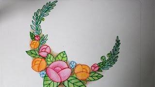 cara menggambar rangkaian bunga yang mudah