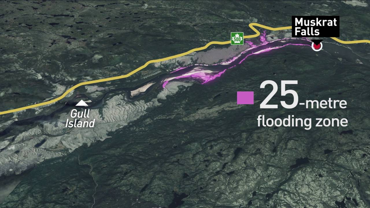 Muskrat Falls Map Animated map of Muskrat Falls flooding   first phase   YouTube