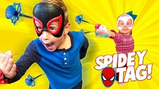 Spider-Man Web Shooters Tag! Into the Spider-Verse Mission Gear | KIDCITY