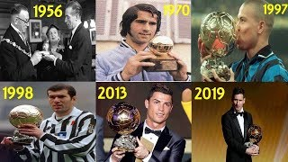 BALLON D'OR WINNERS FROM 1956-2019!! (ALL BALLON D'OR WINNERS) FT. MESSI, RONALDO, ZIDANE ETC
