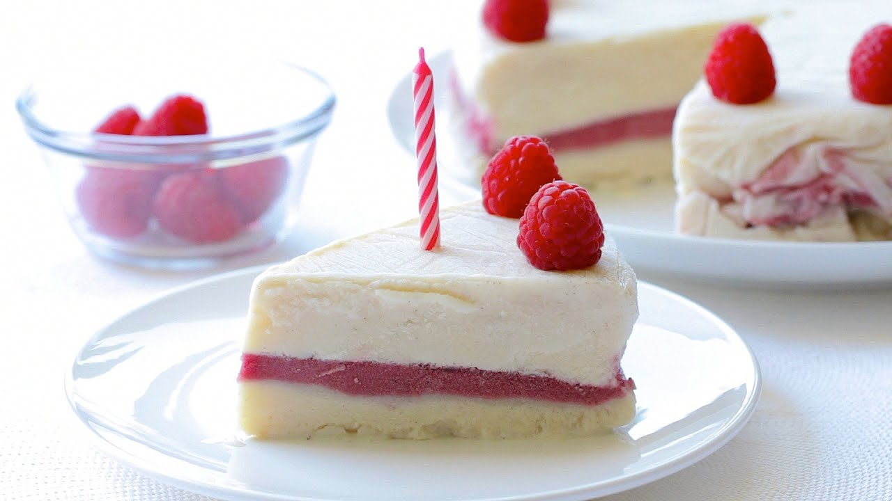 Baby Yogurt and Raspberry Ice Cream cake recipe YouTube