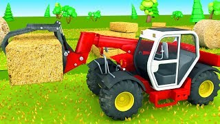 Farm vehicles for Kids Tractors and Combine Harvester working on the field video for Children