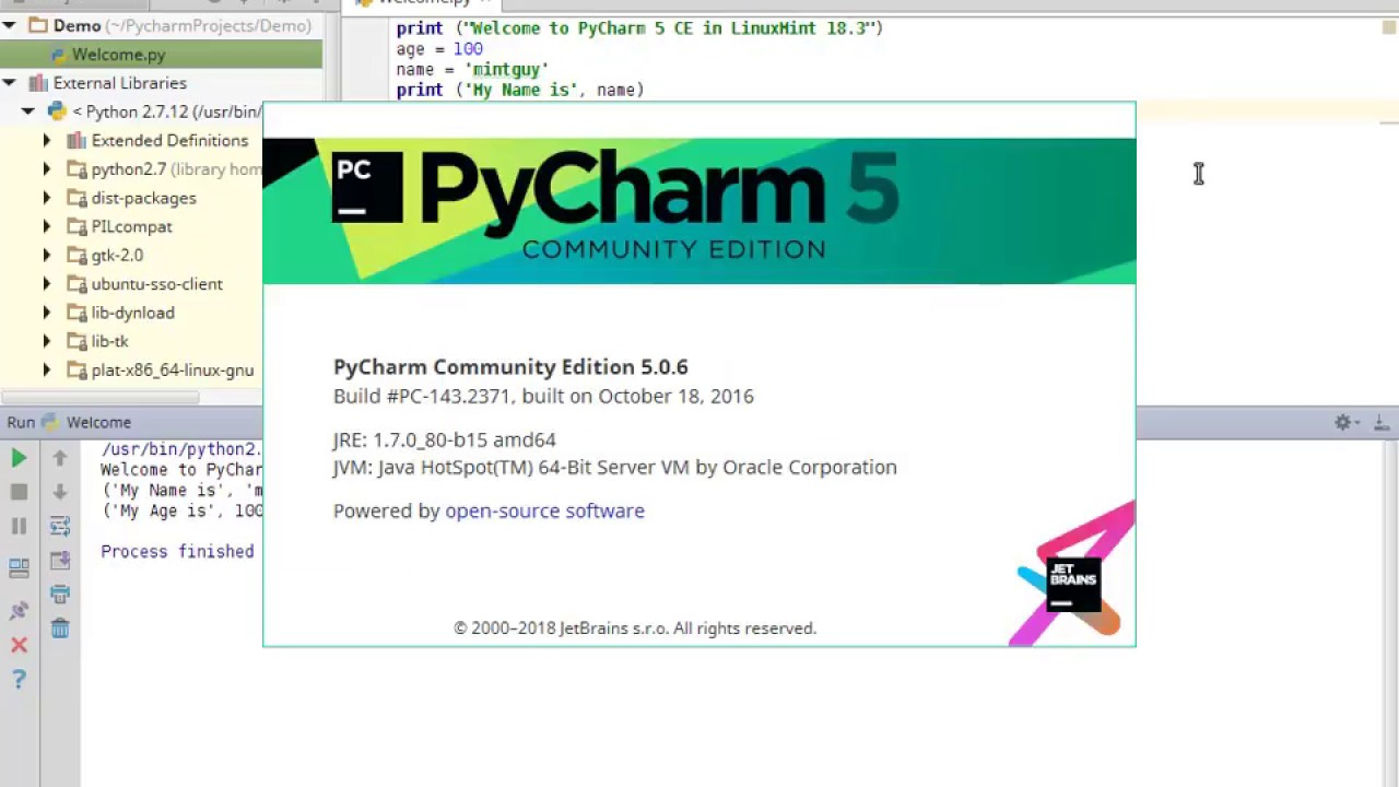 PyCharm 5 Community Edition Installation in LinuxMint 18 3