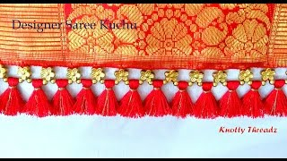 How To Make Designer Saree Kuchu Using Flower Shaped Beads | Tutorial | DIY |Knotty Threadz