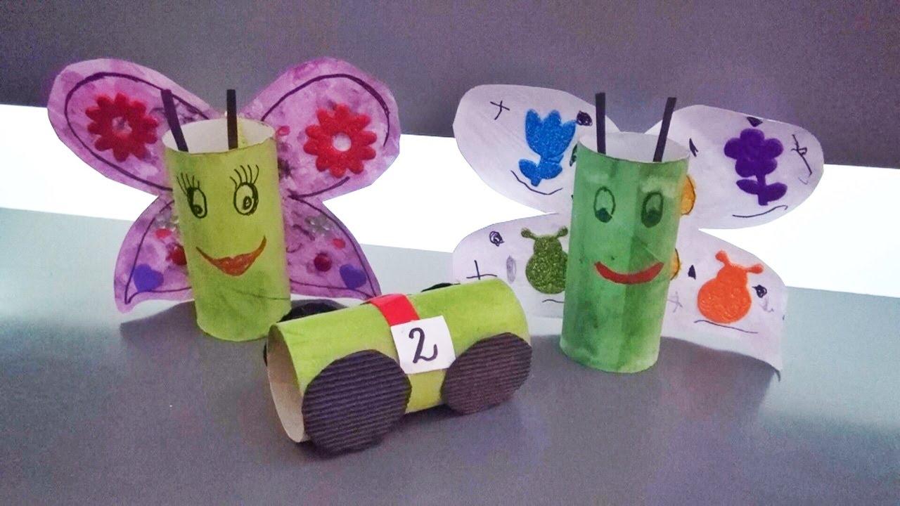 Jak zrobić motyla i autko z rolek po papierze toaletowym? - YouTube