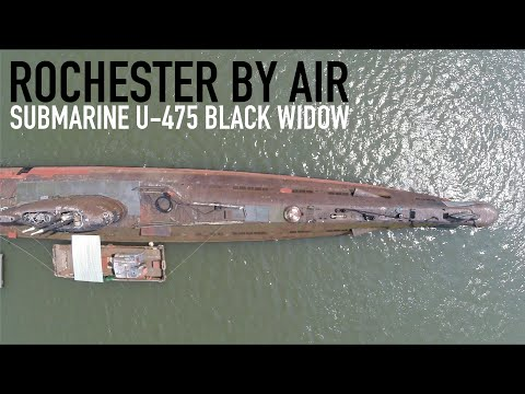 Submarine U-475 Black Widow - River Medway, Rochester, Kent - shot on GoPro with 3DR Solo Drone