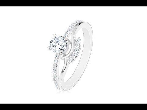 21541e8ab Šperky - Strieborný 925 prsteň - zásnubný, rozdelené ramená, zirkón, vlnky  a trblietavá línia. Šperky eshop