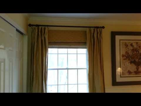 Window Treatment Layering with Roman Shade and Curtains