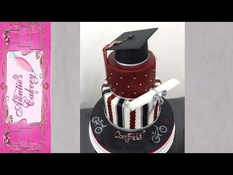 Graduation Cake-Maroon