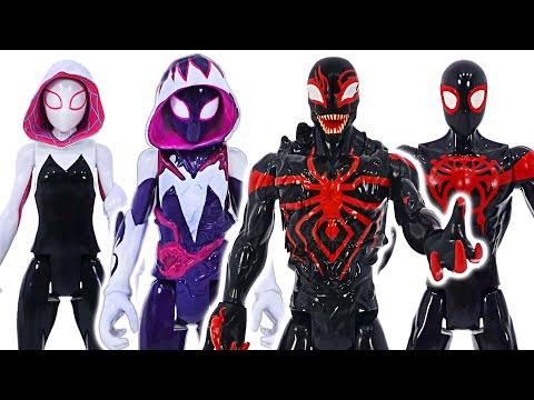 Marvel Spider-Man Miles Morales and Gwen transform into villain Venom! | DuDuPopTOY