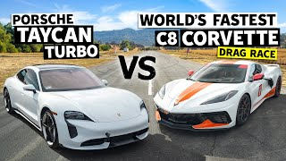 Porsche Taycan vs. World's Fastest C8 Corvette With Emelia Hartford // This vs. That