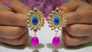 How To Make Beautiful Earrings With Antique Kundhans | DIY | Jewellery Making At Home | uppunuthome