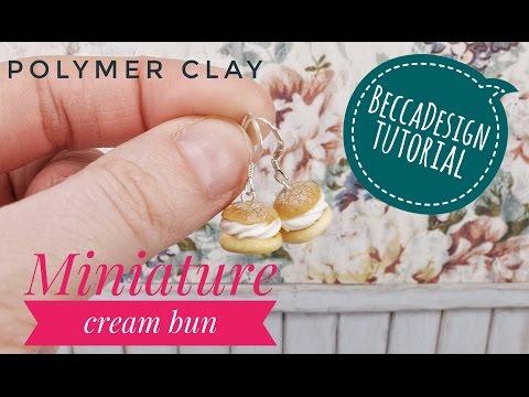 Miniature cream bun - polymer clay tutorial 97685c48982d9
