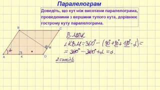 Базові задачі до теми властивості паралелограма