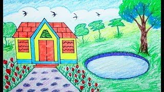 How to draw Scenery, house & Mountain, draw for beginners, draw for kids, for children, drawing