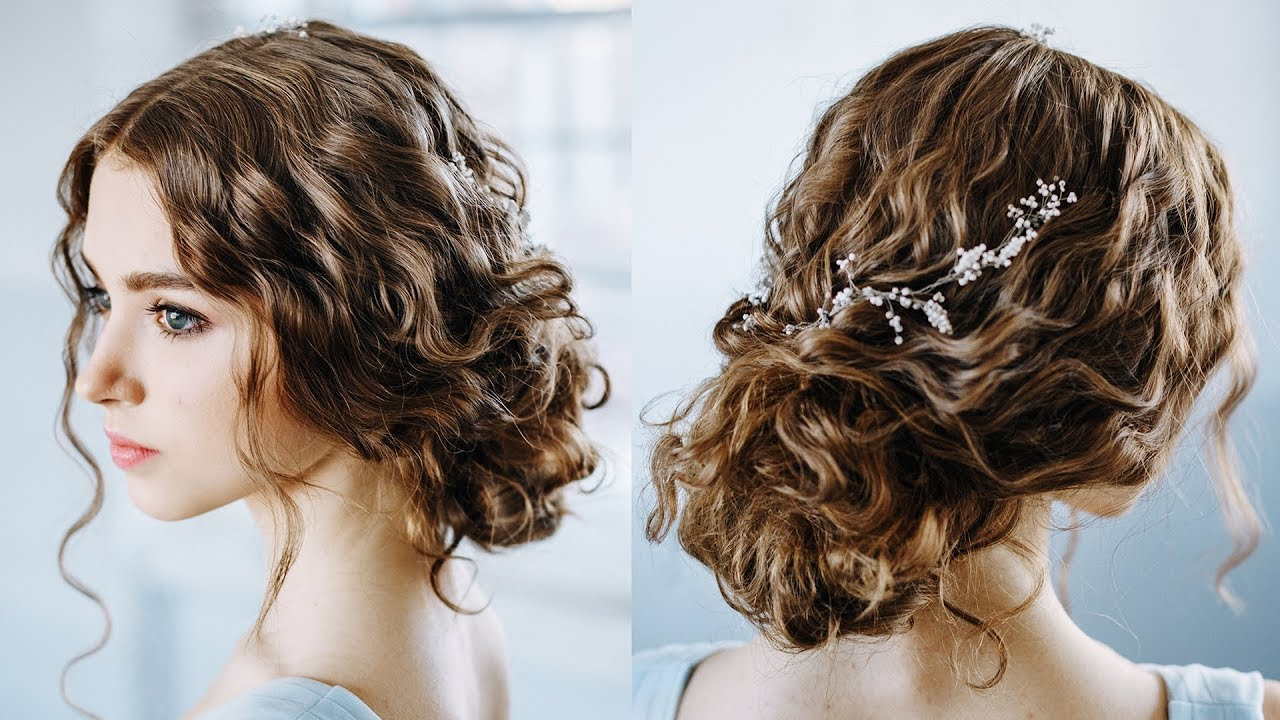 wavy curly hair tutorial   elegant curly bun  easy updo hairstyles for everyday and prom