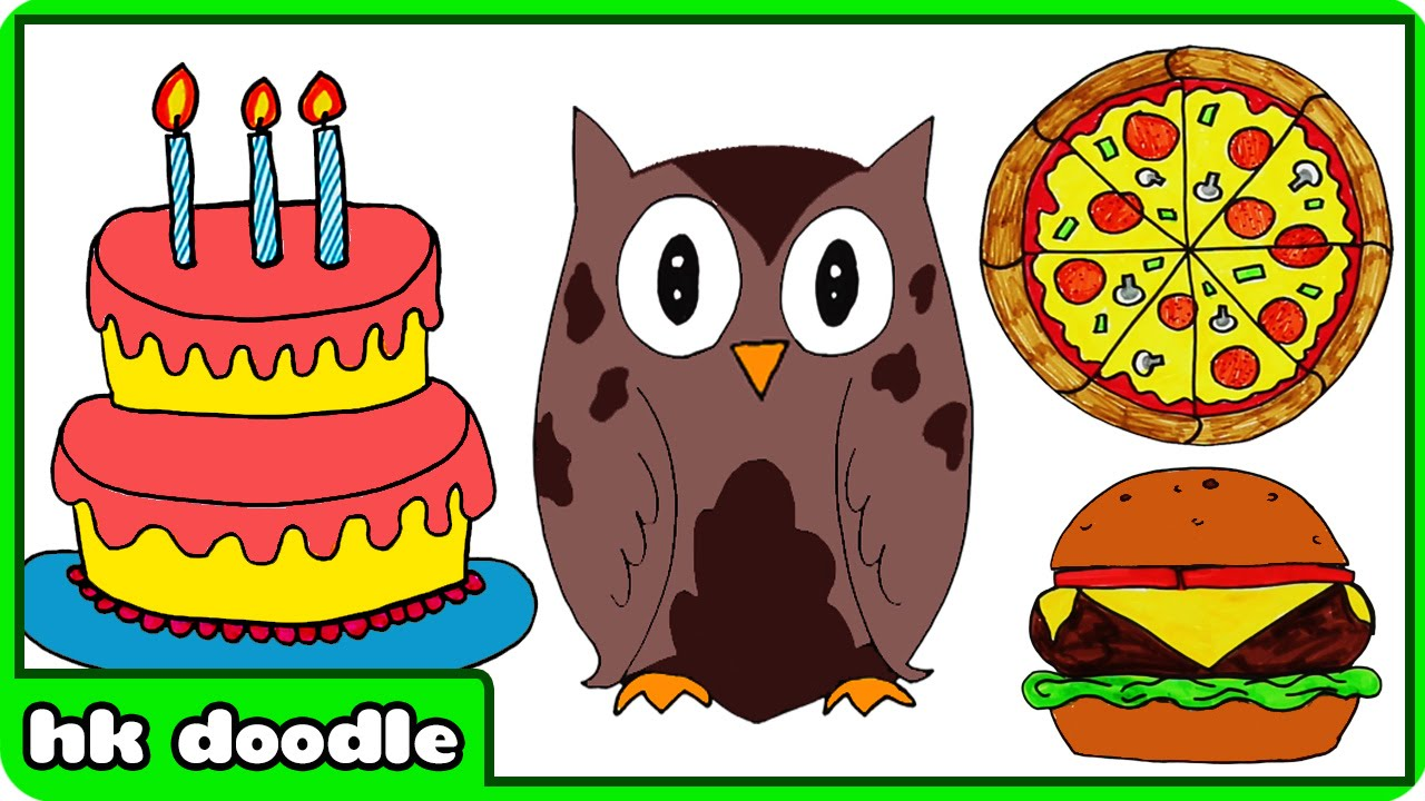how to draw a birthday cake and more super simple drawings for kids by hooplakidz doodle youtube - Kids Simple Drawing