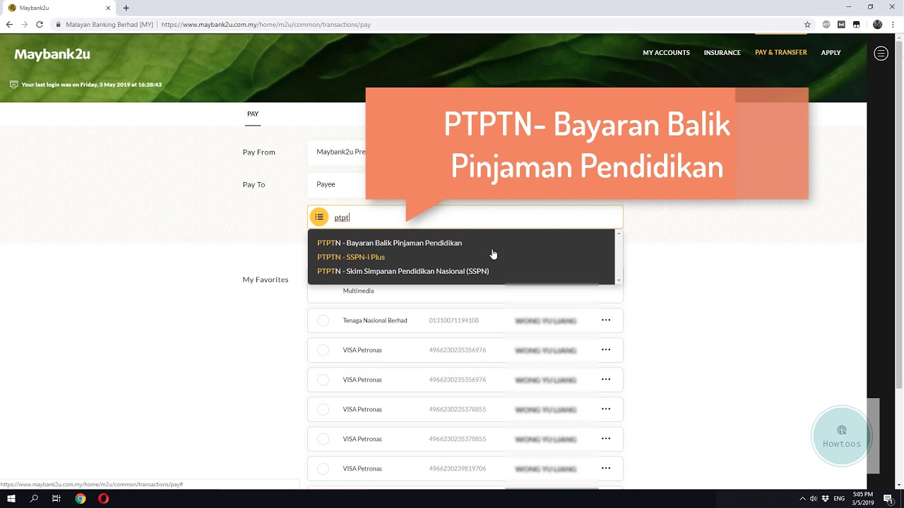 How To Pay Ptptn With Maybank Youtube