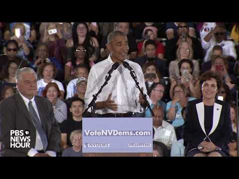 WATCH: Former President Obama campaigns for Democrats in Nevada during a rally in Las Vegas