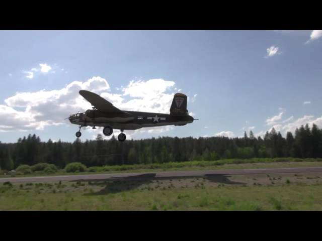 B 25 Takeoff & Low Pass at Chiloquin Airport 2S7, Oregon, May 13, 2016