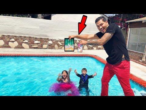 Txunamy & Diezel's iPhone X & iPad in our swimming pool prank!! | Familia Diamond