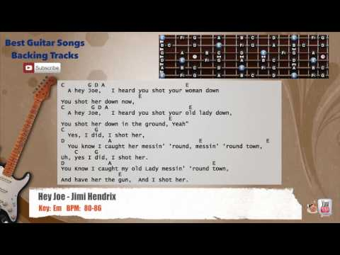 Hey Joe - Jimi Hendrix Guitar Backing Track with scale, chords and lyrics