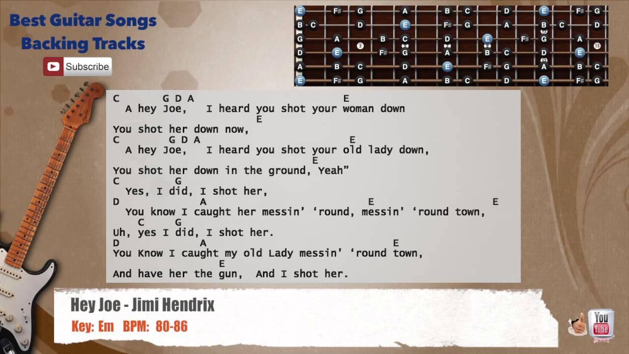 Hey Joe Jimi Hendrix Guitar Backing Track With Scale Chords And