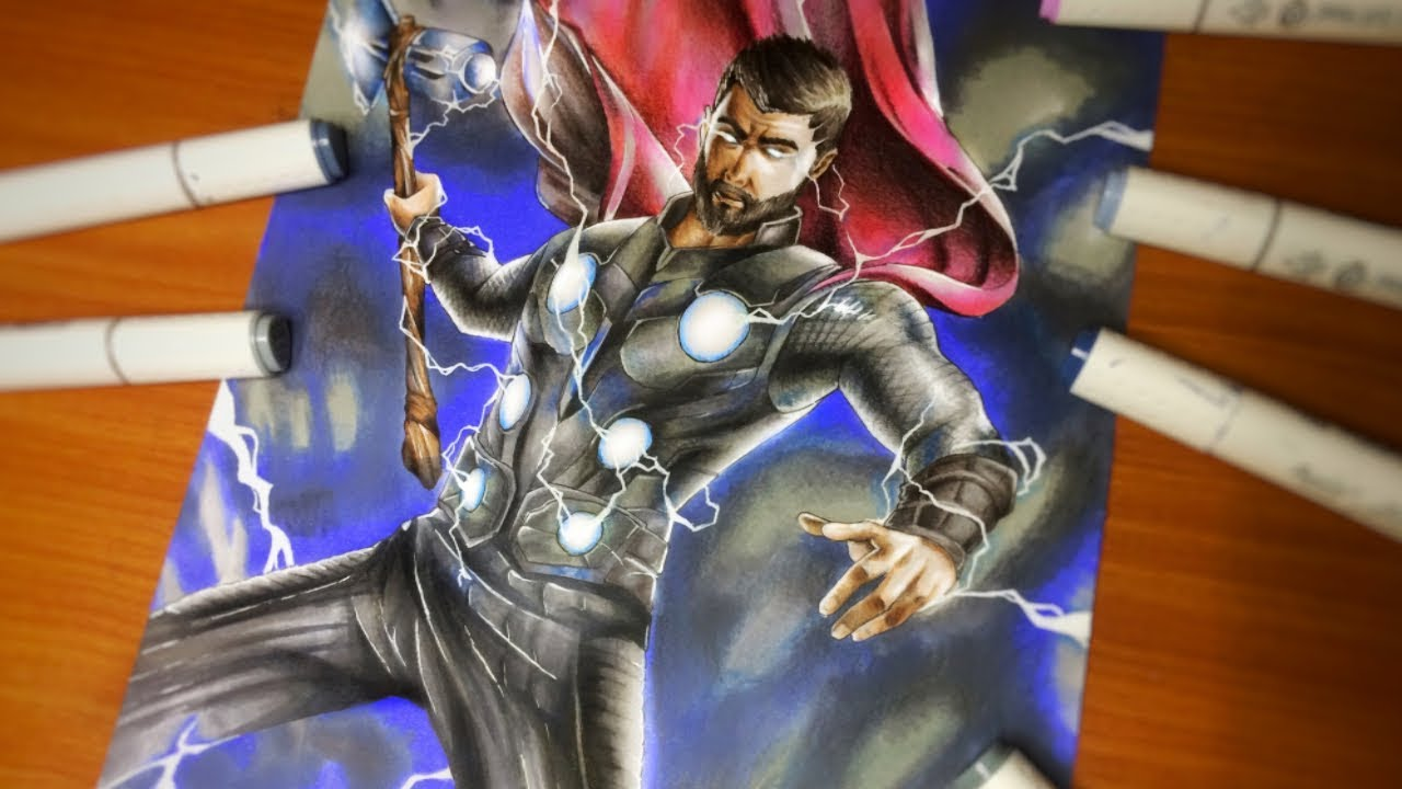 Drawing Thor The God Of Thunder Stormbreaker Avengers Infinity War Youtube