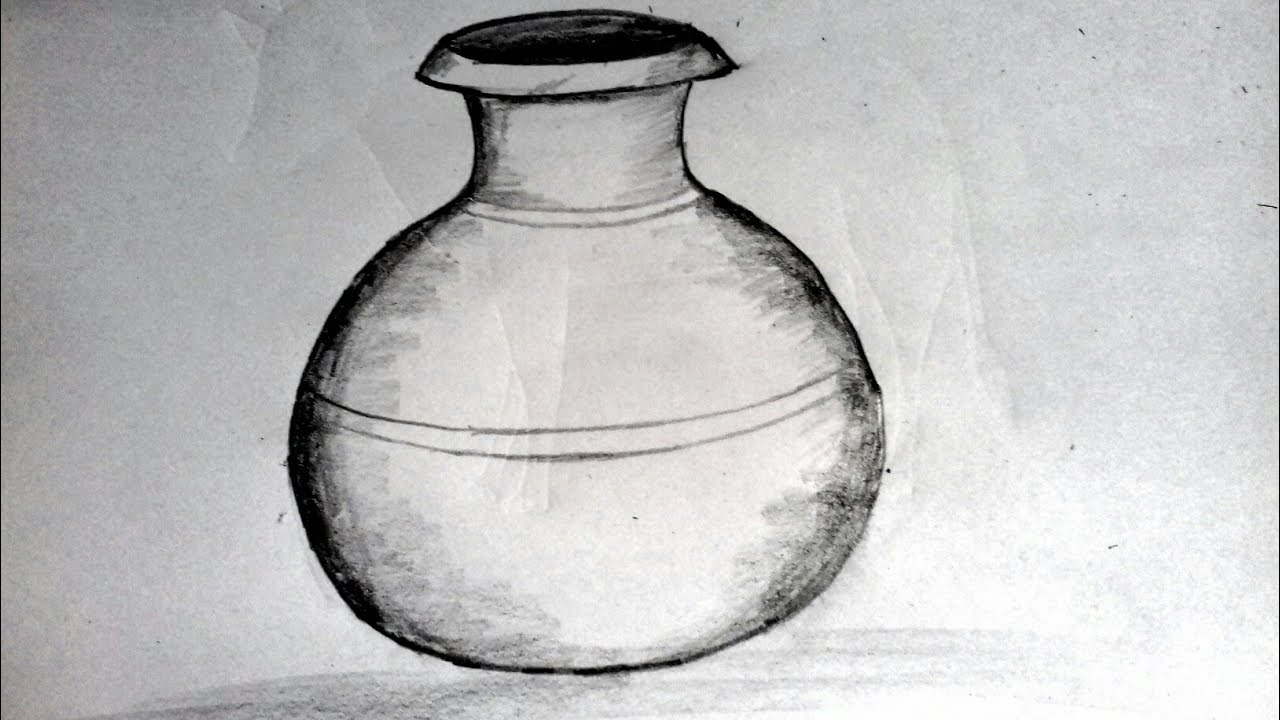 How to draw a clay water pot pitcher drawing traditional clay pot drawing