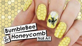 Bumblebee & Honeycomb Nail Art | NAIL CRUSH = PiggieLuv | Nailed It NZ
