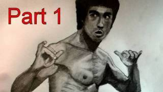 How to Draw Bruce Lee Step by Step (Pencil, Tortillion, Paint Brush)