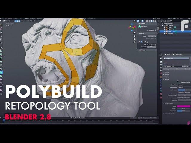 Retopology Using New Polybuild Tool in Blender