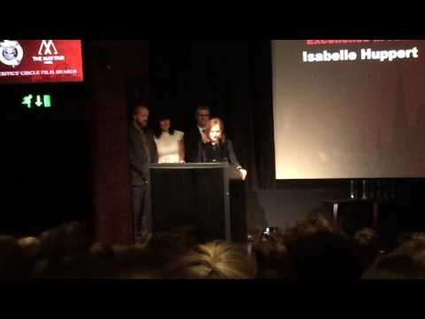 Isabelle Huppert accepting The Dilys Powell Award for EXCELLENCE IN FILM