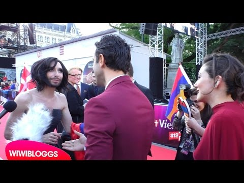 Eurovision 2015 red carpet: Genealogy (Armenia) meet Conchita Wurst - interview   wiwibloggs