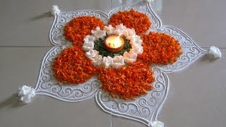 Easy and beautiful rangoli using marigold flowers | Innovative rangoli designs by Poonam Borkar