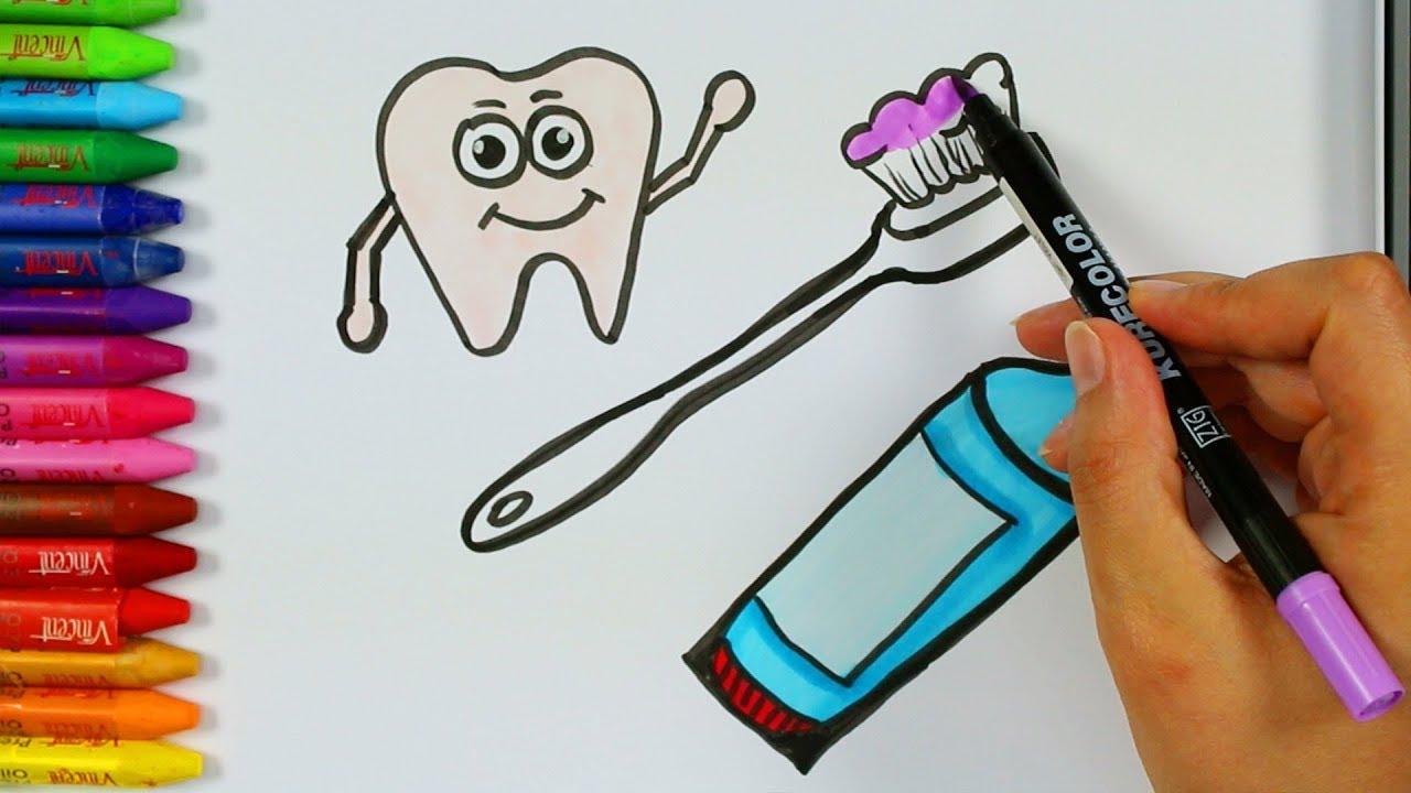 Diş Macunu Ve Diş Fırçası Nasıl çizilir Boyama Sayfaları
