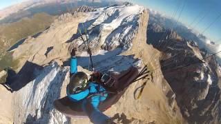 Paragliding Dolomites top landing Marmolada 2016
